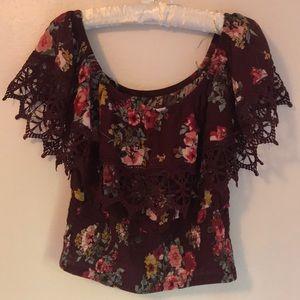Sassy Floral Patterned off shoulder blouse!